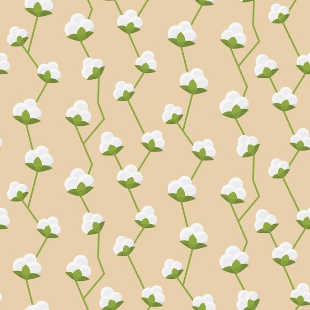 Cotton seamless pattern Free Vector