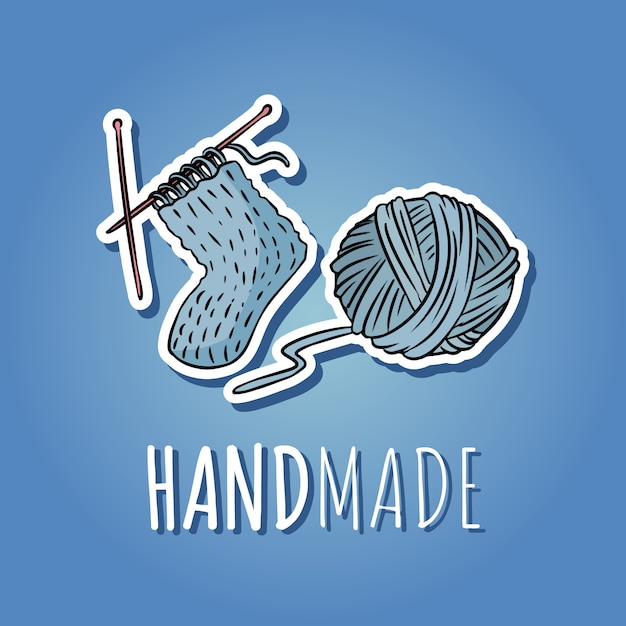 Cotton yarn ball and knitted sock Premium Vector