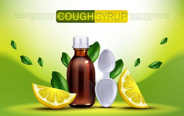 Cough syrup with lemon flavour banner Free Vector