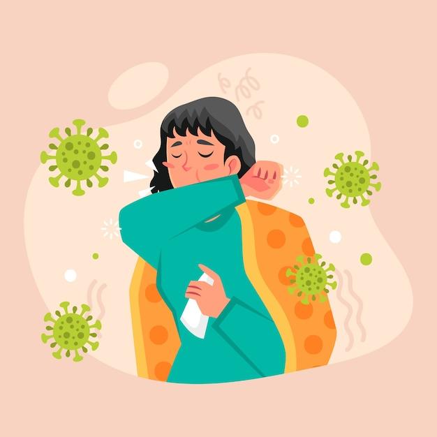 コロナウイルスで咳をする人 無料ベクター
