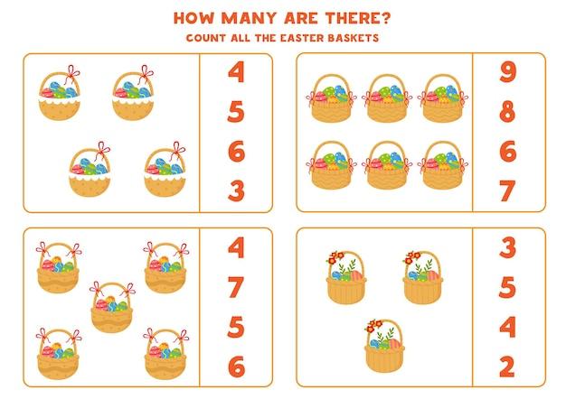 Подсчитайте все пасхальные корзины, полные яиц Premium векторы