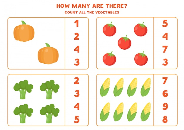Count the amount of vegetables and circle the right answer. Premium Vector