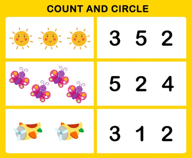 Count and circle illustration Premium Vector