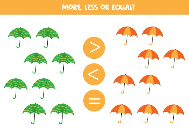 Count colorful umbrellas and compare more, less or equal Premium Vector