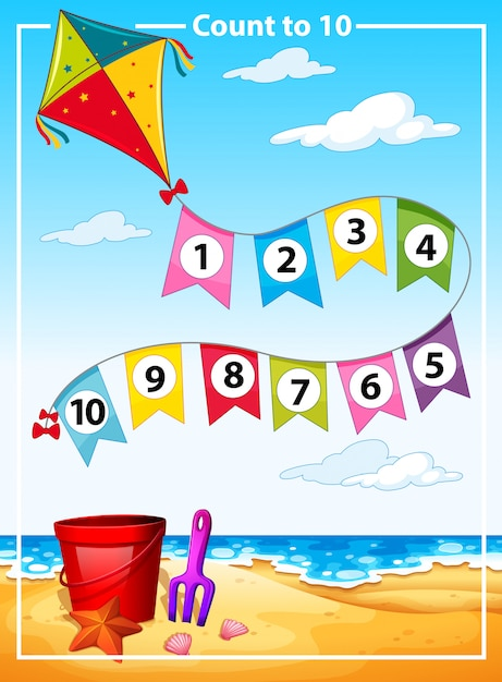 Count number summer beach template Free Vector