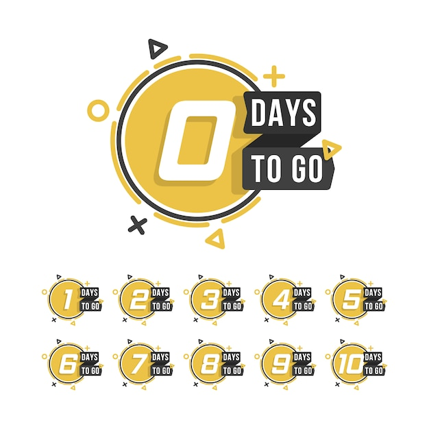 Countdown 1 to 10, days to go label or emblem can be used for promotion, sale, landing page, template, ui, web, mobile app, poster, banner, flyer. set of number days left countdown. Premium Vector