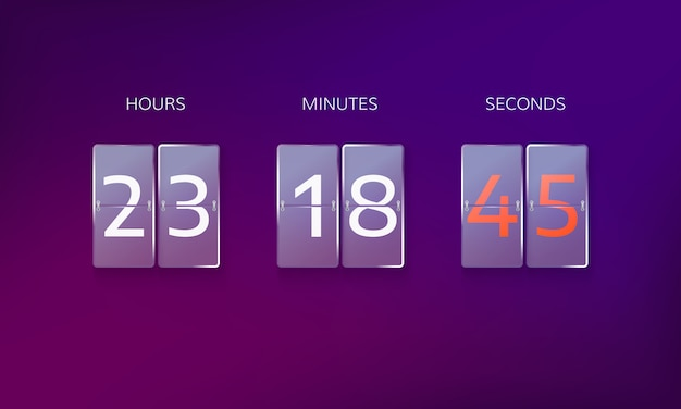 Countdown before the end of the offer. count hours, minutes and seconds. web banner countdown isolated on purple background Premium Vector