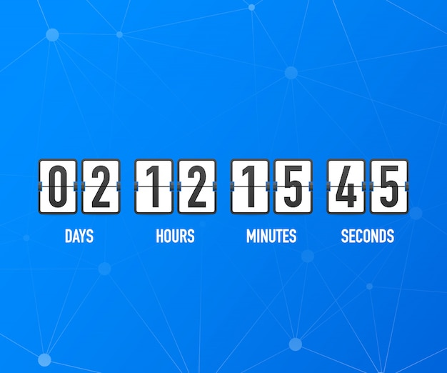 Countdown clock counter timer. ui app digital count down circle board meter with circle time pie diagram. scoreboard of day, hour, minutes and seconds for web page coming soon event template Premium Vector