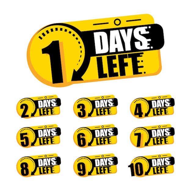 Countdown of days 1,2,3,4,5,6,7,8,9,10. the days left badges. a countdown is going on, one day i left a badge and a label to calculate the date of work. offer timer, sticker limited to a few days. Premium Vector