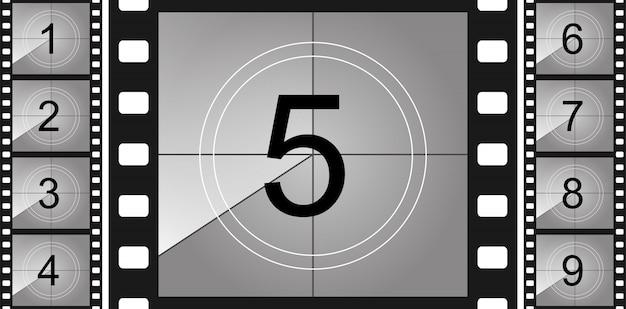 Countdown frame. art design. old film timer count. Premium Vector