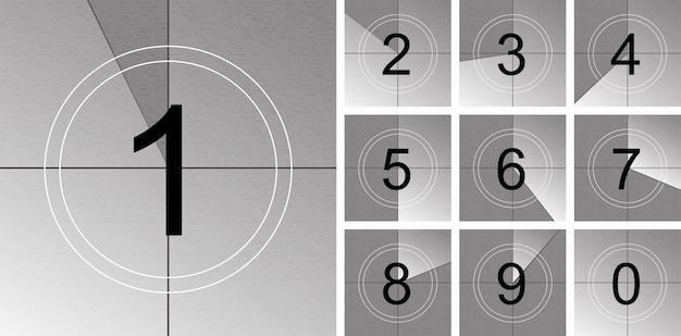 Countdown frame. old film timer count. Premium Vector