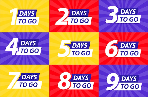 Countdown left days banner. count time sale. nine, eight, seven, six, five, four, three, two, one, zero days left. Premium Vector
