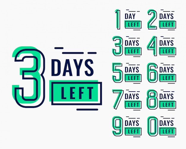 Countdown time for number of days left banner Free Vector
