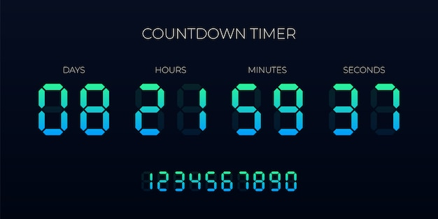 Countdown timer digital clock Premium Vector