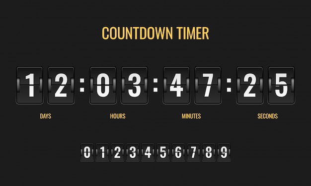 Countdown timer. meter scoreboard digital watch mechanics counter information down number counting clock day template Premium Vector