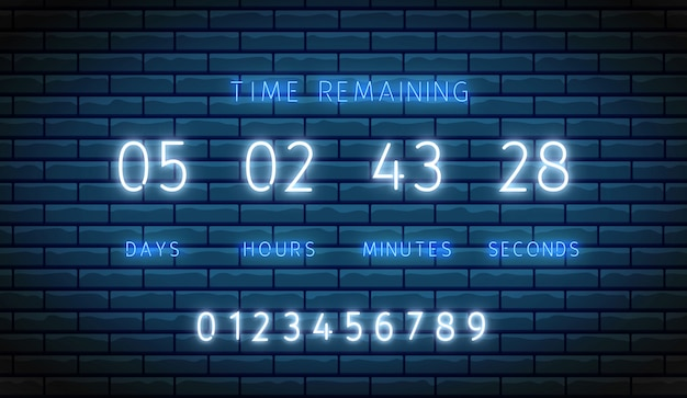 Countdown timer. neon clock counter. . illuminated digital count down. time remaining board. shiny days, hours, minutes and seconds on display. glowing scoreboard on brick wall. led illustration Premium Vector