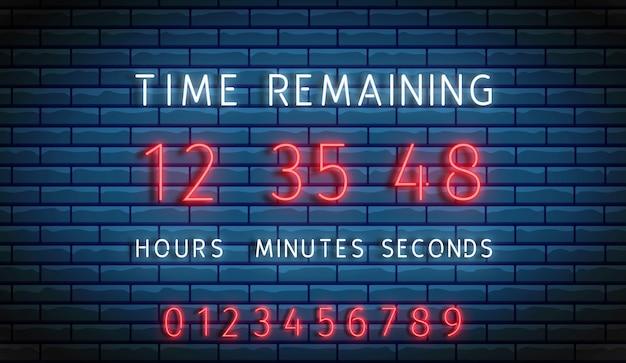 Countdown timer. neon clock counter. time remainig board. digital count down. scoreboard on display. Premium Vector