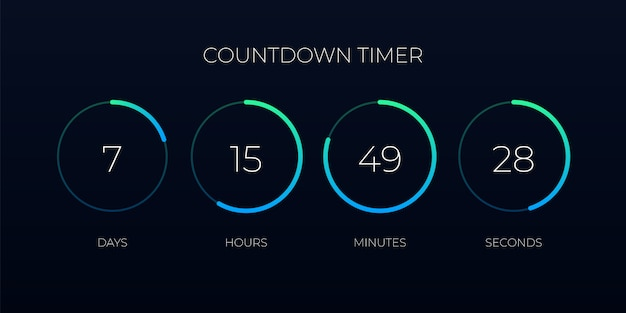 Countdown timer  template for website and application Premium Vector