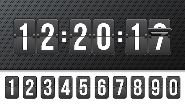 Countdown timer with numbers, clock counter. Premium Vector