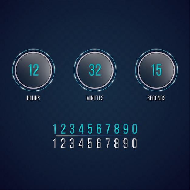 Countdown web site, flat template digital clock timer Vector
