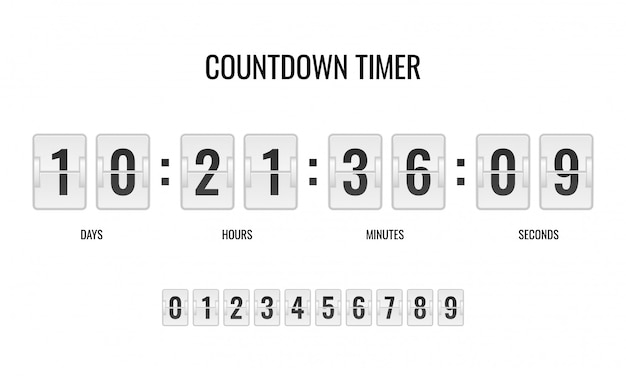 Counter timer clocks counts day digital down watch numeric minute coming score hour Premium Vector