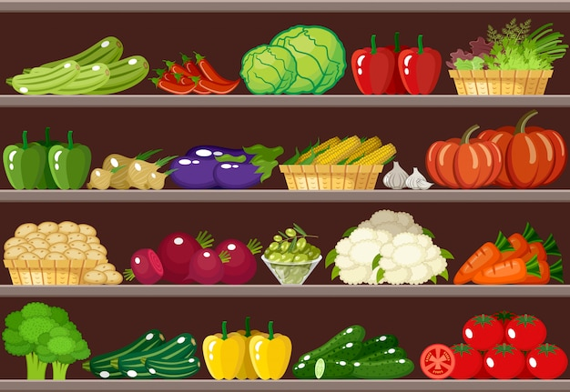 Counter with vegetables. supermarket. Premium Vector