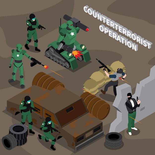 テロ対策作戦等尺性組成物 無料ベクター