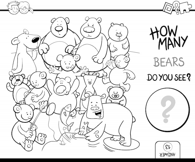 Counting Bears Coloring Book Activity Premium Vector
