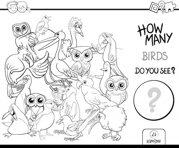 Counting birds coloring page activity Premium Vector