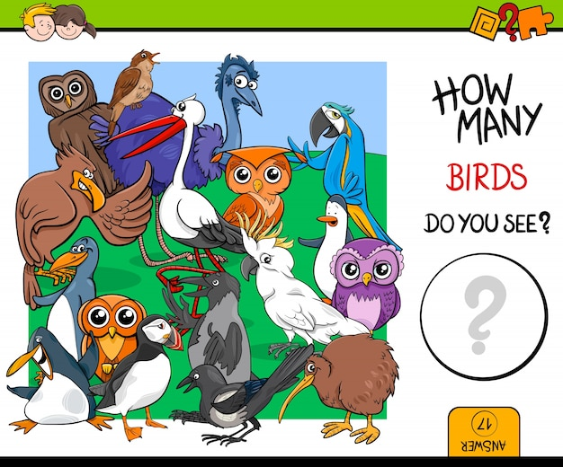 Counting birds educational game for kids Premium Vector