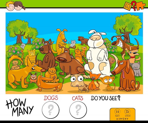 Counting cats and dogs educational game Premium Vector