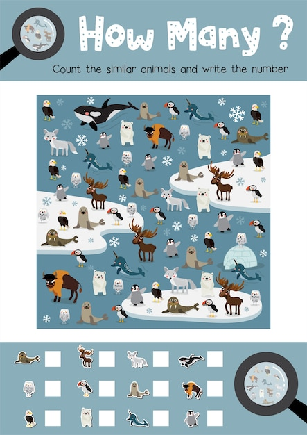 Counting game of arctic animals Premium Vector