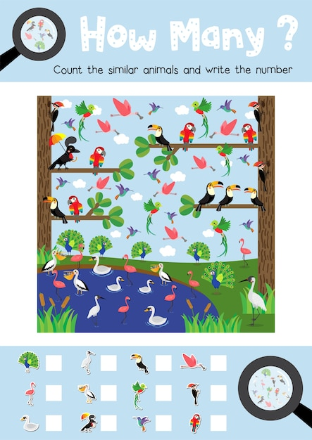 Counting game of cute birds animals Premium Vector