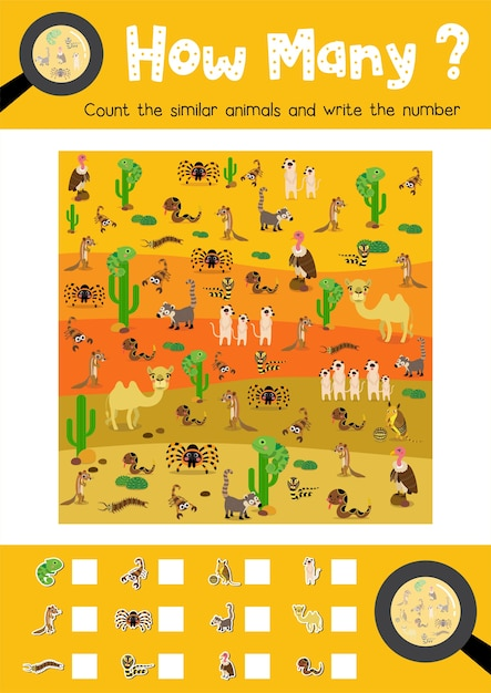 Counting game of desert animals Premium Vector