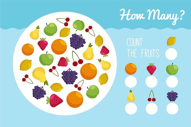 果物を使った学校の宿題のカウントゲーム 無料ベクター