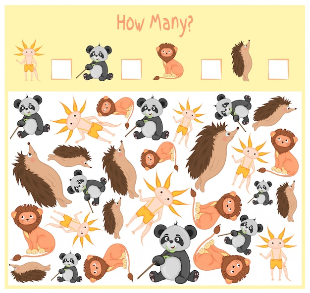 Counting game for preschool children. a mathematical educational game. count how many items and write the result. wild and domestic animals. nature. Premium Vector