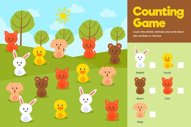 Подсчет игры с милыми животными на поле Бесплатные векторы