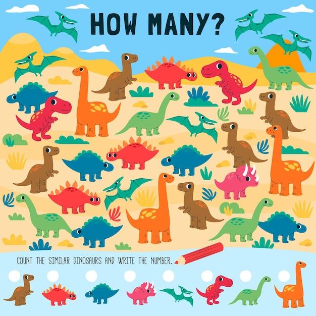 Подсчет игры для детей с динозаврами Бесплатные векторы