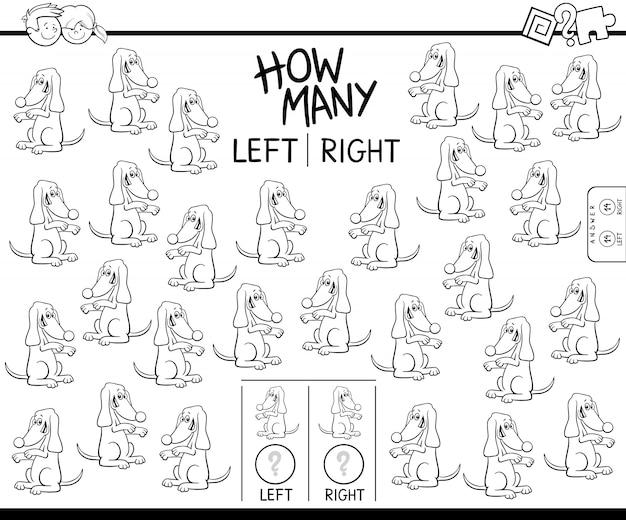 Подсчет левого и правого рисунка собаки цвета книги Premium векторы