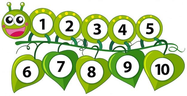 Счетный номер с зеленой гусеницей Бесплатные векторы