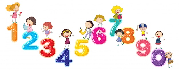 Counting numbers with little kids Vector | Free Download