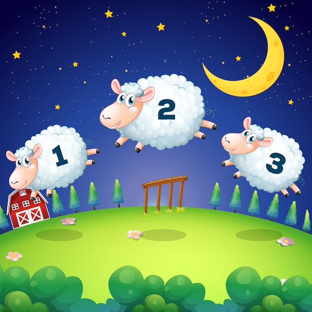 Counting sheeps jumping over the fence Free Vector