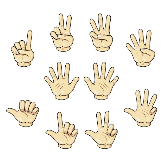 Counting with fingers hand Premium Vector