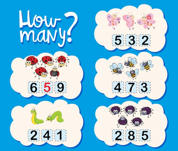Counting worksheet with numbers and pictures Free Vector