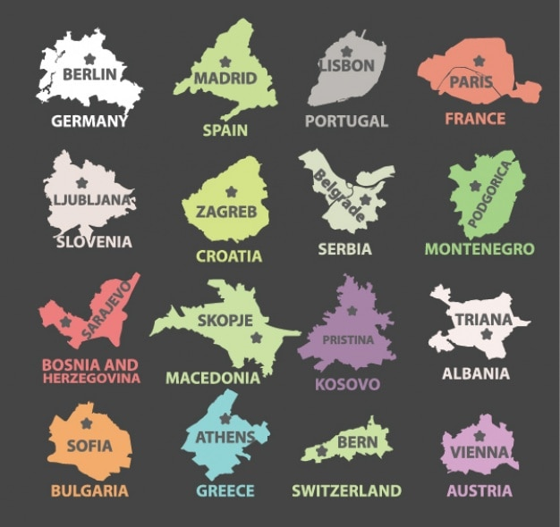 Countries and their capitals design