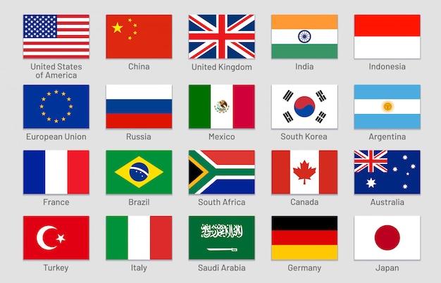 Флаги стран. основные страны с развитой и развивающейся экономикой мира, официальный набор флагов группы двадцати Premium векторы