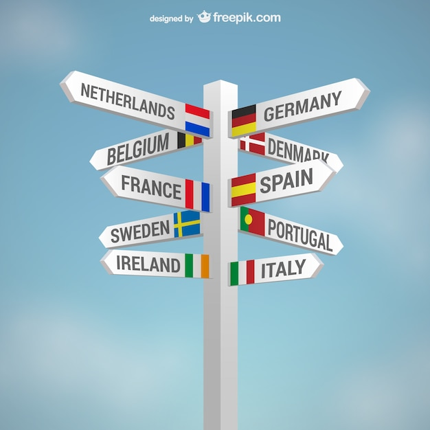 Countries signs Free Vector