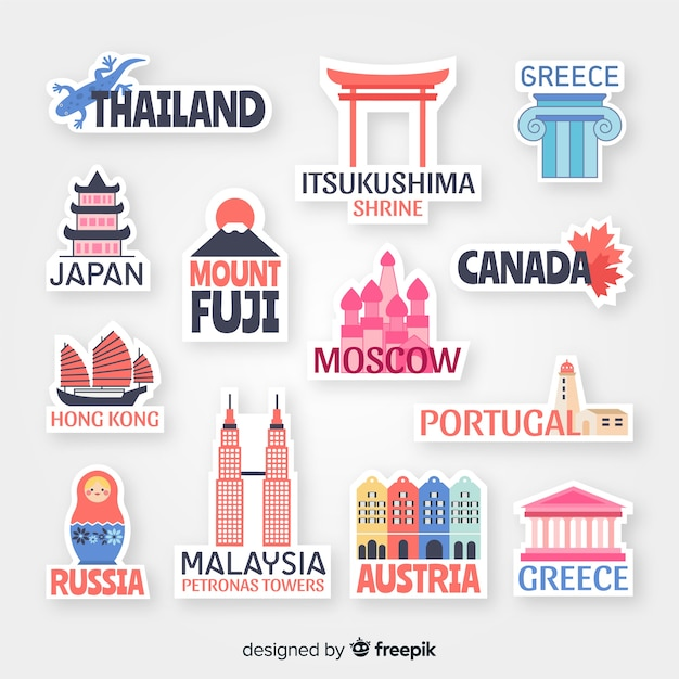 Countries sticker collection Free Vector