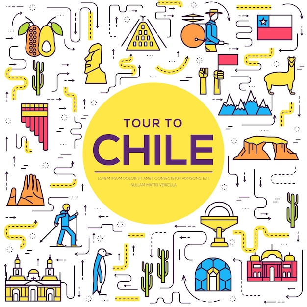 Country chile thin line guide of goods Premium Vector