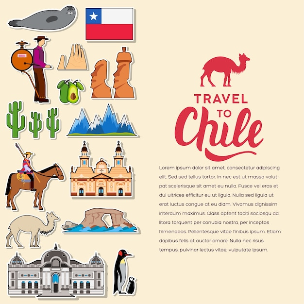 Country chile travel vacation guide of goods, places. Premium Vector